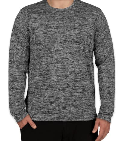 Sport-Tek Electric Heather Long Sleeve Performance Shirt - Black Electric