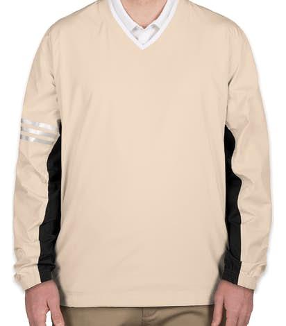 Adidas ClimaProof Colorblock V-Neck Windshirt - Ecru / Black