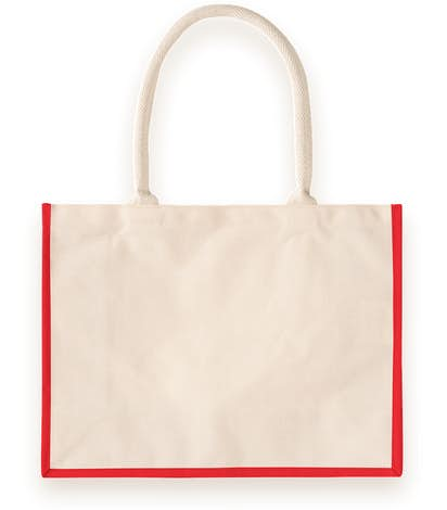 Cotton Landscape Shopper Tote - Natural / Red