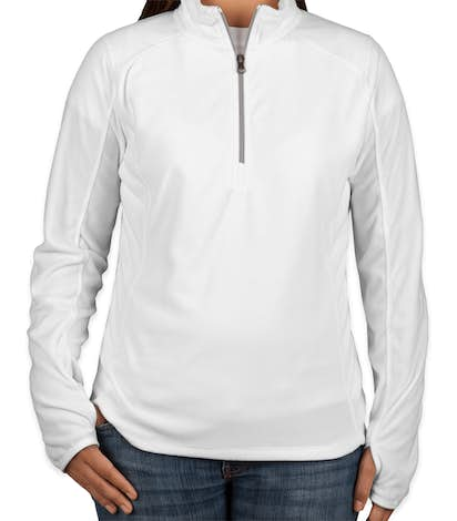 Port Authority Women's Quarter Zip Microfleece Pullover - White