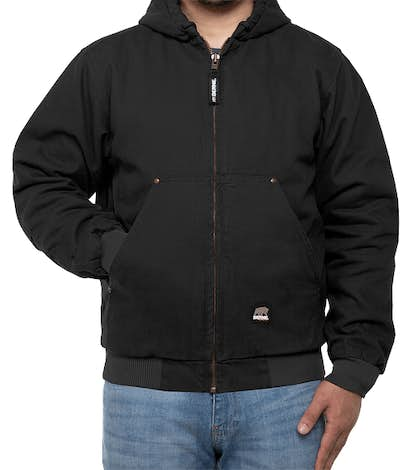 Berne Highland Washed Cotton Duck Hooded Jacket - Black