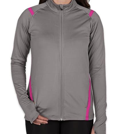 Augusta Women's Freedom Performance Full Zip Jacket - Graphite / Power Pink