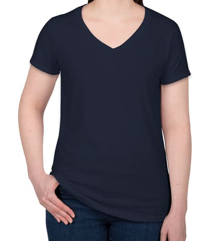 Gildan Women's 100% Cotton V-Neck T-shirt - Navy