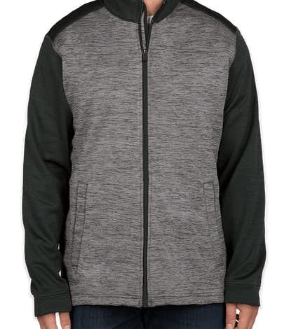 Devon & Jones Newbury Melange Fleece Full Zip Jacket - Black Heather / Dark Grey Heather