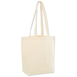 Large Natural Gusseted 100% Cotton Canvas Tote Bag