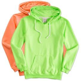 J. America Women's Neon V-Neck Pullover Hoodie