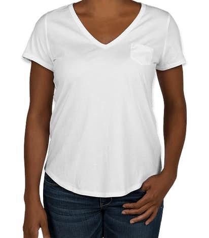 GAP Ladies Vintage Wash V-Neck with Pocket - Optic White