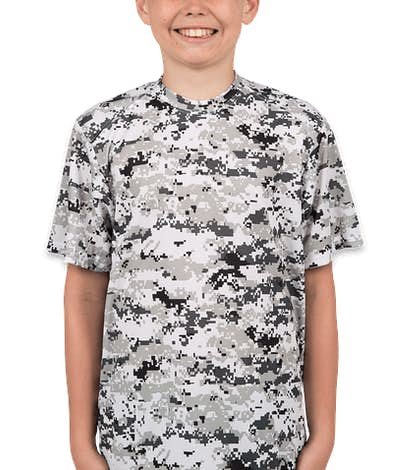 Badger Youth Digital Camo Performance Shirt - White Digital