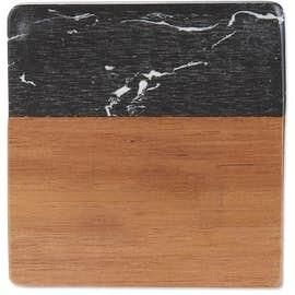 Laser Engraved Black Marble and Wood Coaster Set