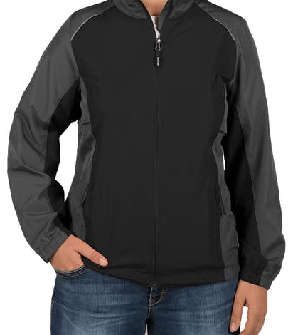 Core 365 Women's Colorblock Lightweight Full Zip Jacket - Black / Carbon