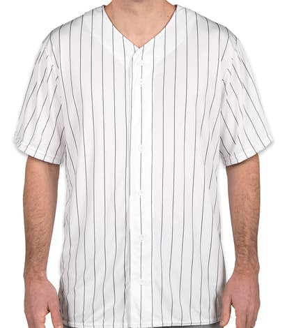 Augusta Pinstripe Full Button Baseball Jersey - White / Black