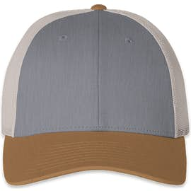 Richardson Low Profile Trucker Hat - Color: Heather Grey / Birch / Amber Gold