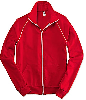 American Apparel USA-Made Fleece Track Jacket with White Piping