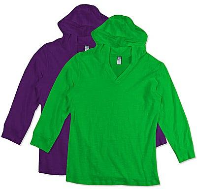 J. America Ladies 3/4 Sleeve Hooded T-shirt