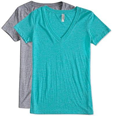 Next Level Women's Slim Fit Tri-Blend Deep V-Neck T-shirt