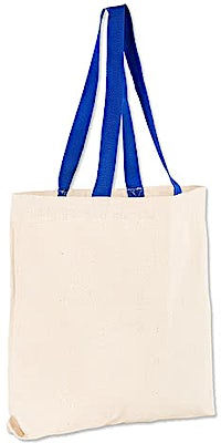 Midweight Contrast Handles Cotton Canvas Tote Bag