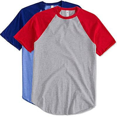 American Apparel USA-Made 50/50 Short Sleeve Baseball Raglan