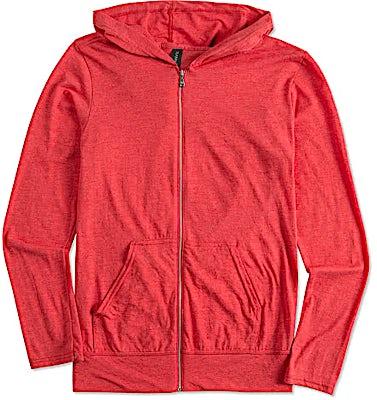 Anvil Tri-Blend Full Zip T-shirt Hoodie