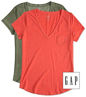 GAP Ladies Vintage Wash V-Neck with Pocket